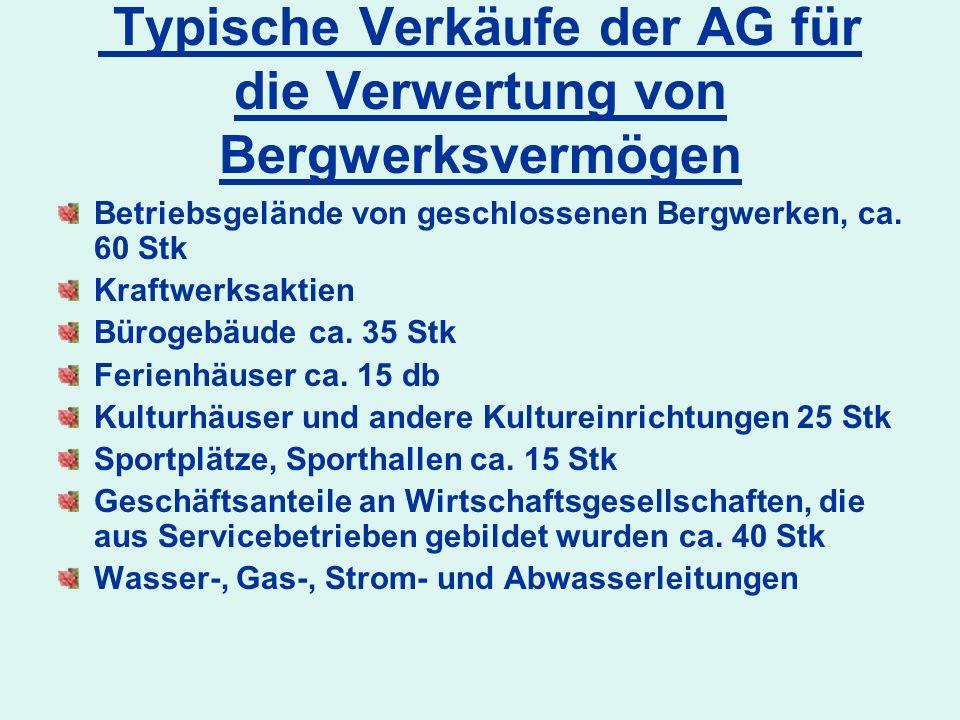 Typische Verkäufe der AG für die Verwertung von Bergwerksvermögen Betriebsgelände von geschlossenen Bergwerken, ca. 60 Stk Kraftwerksaktien Bürogebäud