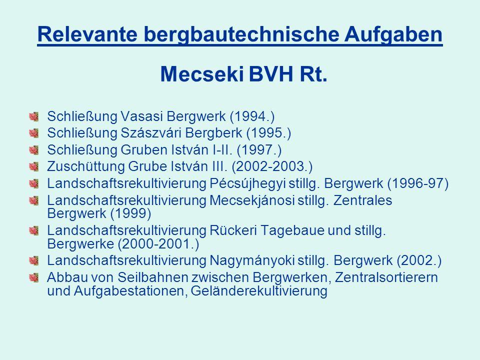 Relevante bergbautechnische Aufgaben Schließung Vasasi Bergwerk (1994.) Schließung Szászvári Bergberk (1995.) Schließung Gruben István I-II.