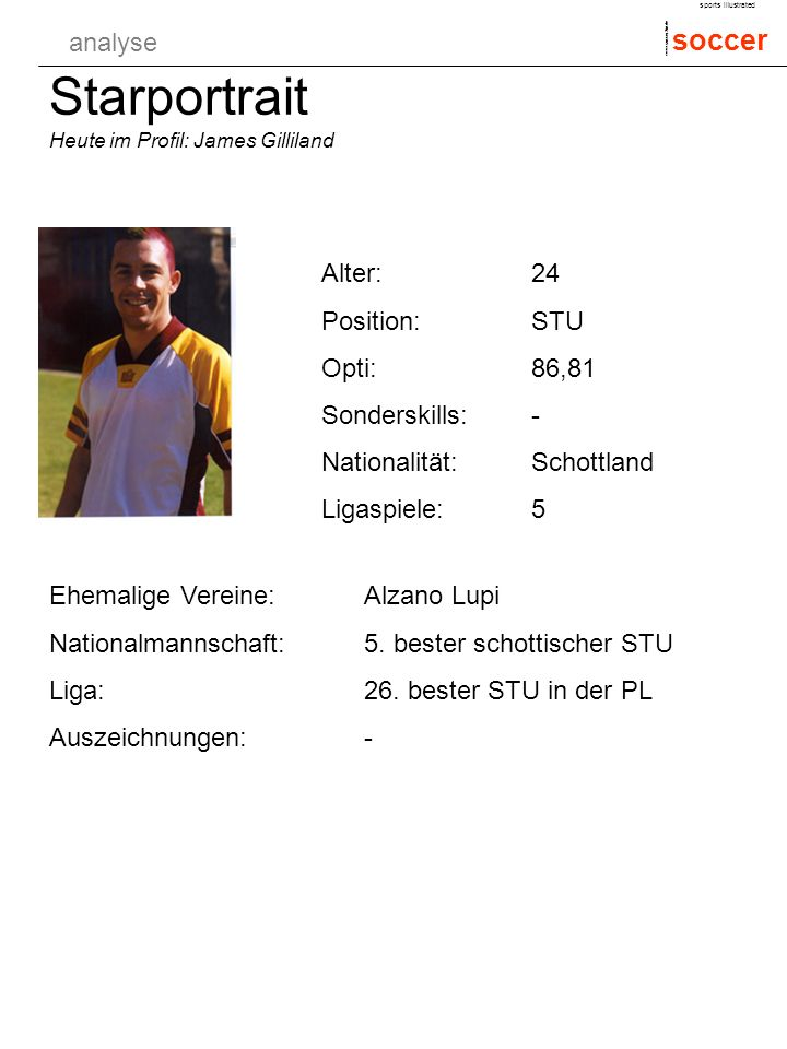 analyse soccer sports illustrated www.soccer.2in.de Starportrait Heute im Profil: James Gilliland Alter:24 Position:STU Opti:86,81 Sonderskills:- Nati