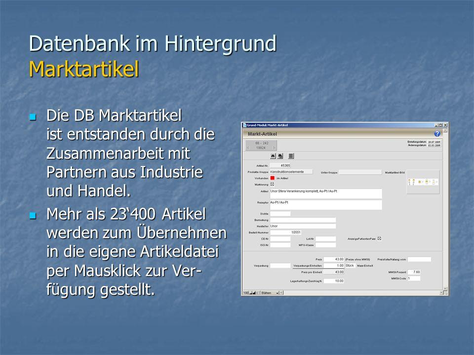 Datenbank im Hintergrund Marktartikel Die DB Marktartikel ist entstanden durch die Zusammenarbeit mit Partnern aus Industrie und Handel.