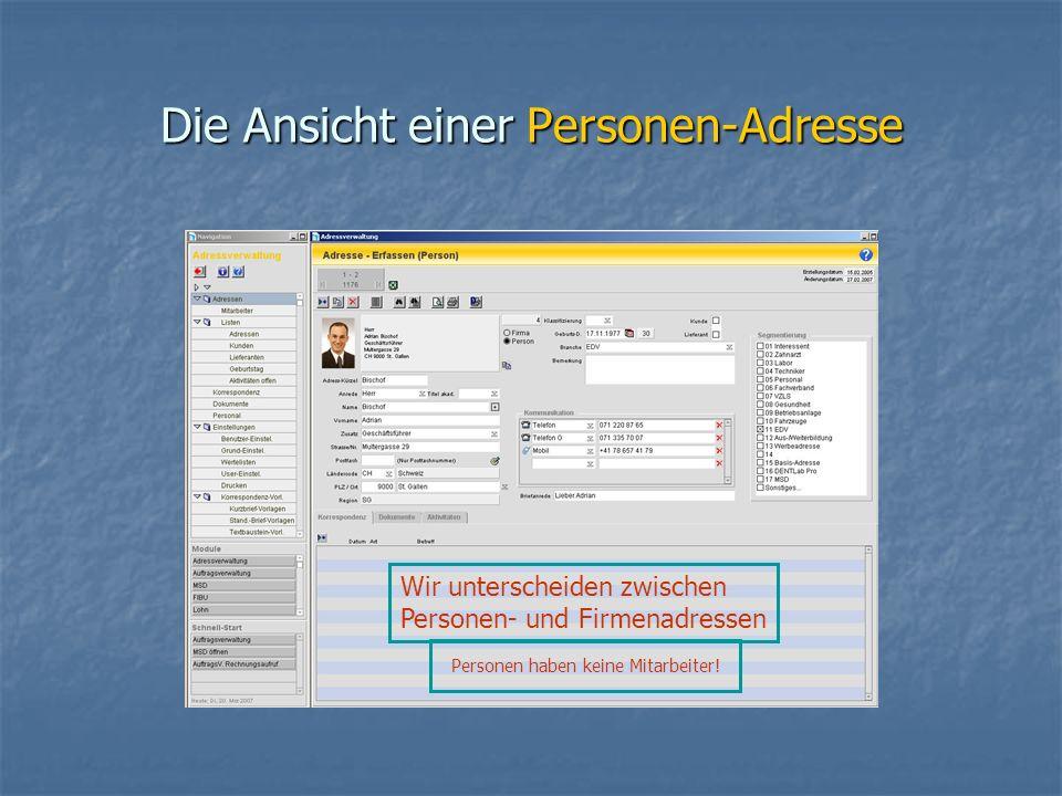 Die Ansicht einer Personen-Adresse Personen haben keine Mitarbeiter.