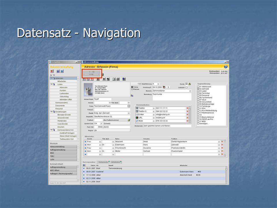 Datensatz - Navigation