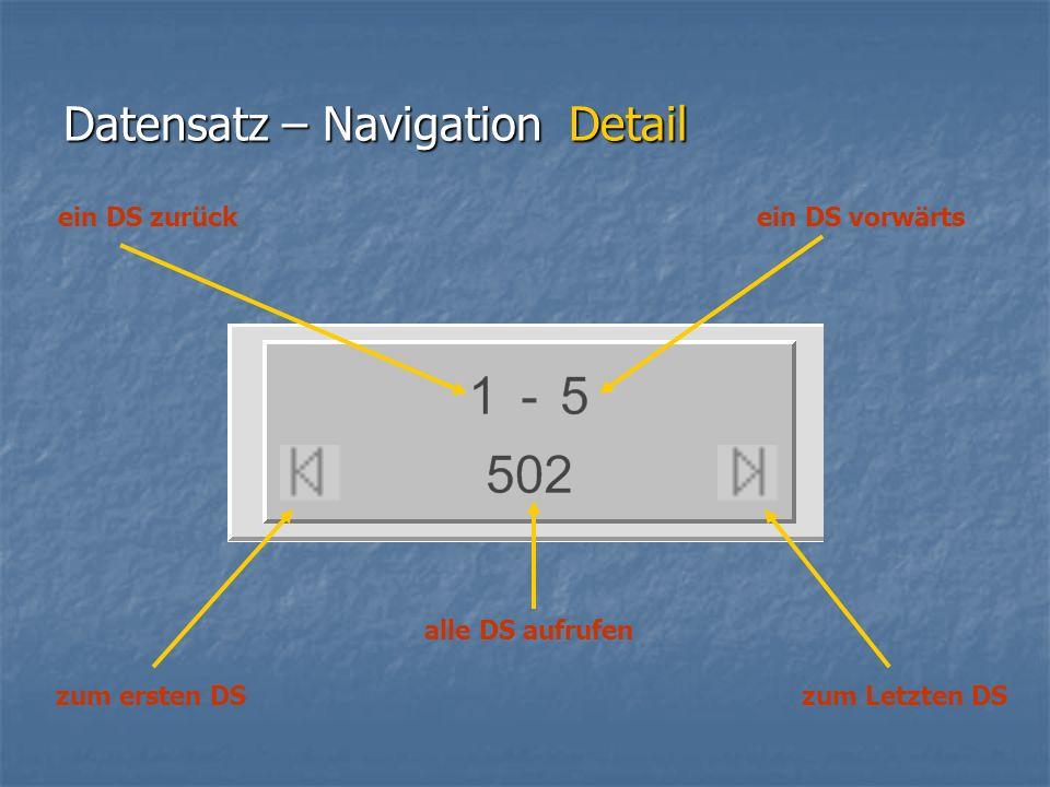 Datensatz – Navigation Detail zum Letzten DS alle DS aufrufen zum ersten DS ein DS vorwärtsein DS zurück