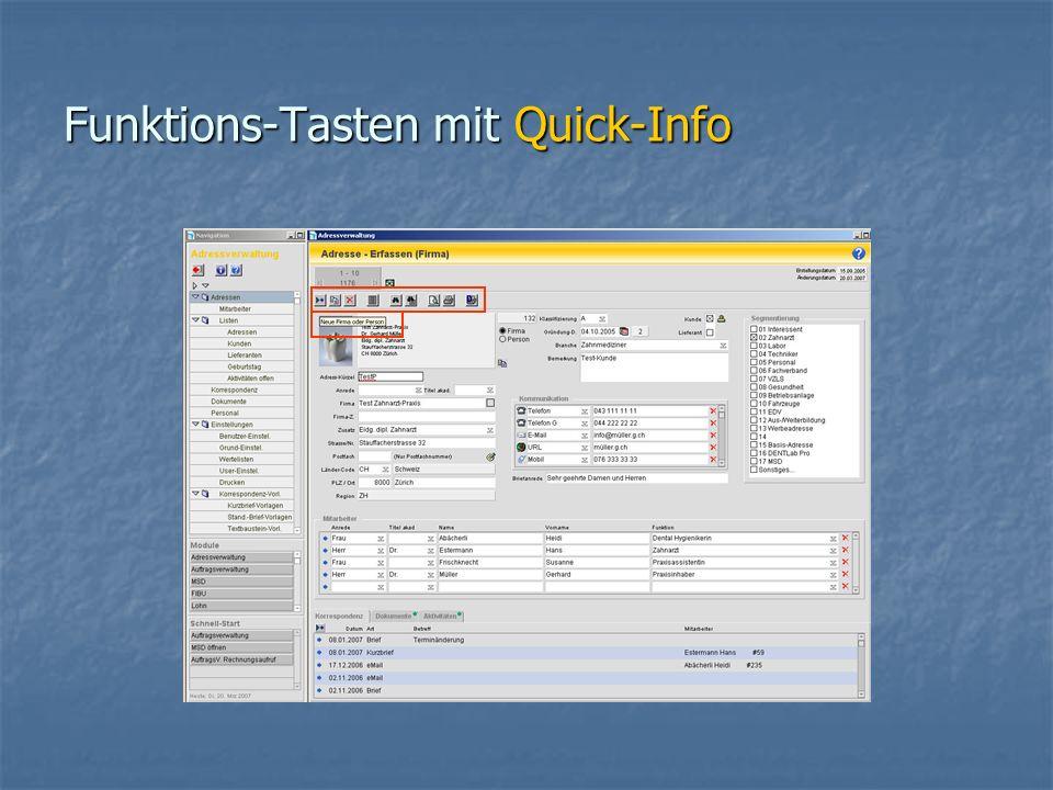 Funktions-Tasten mit Quick-Info