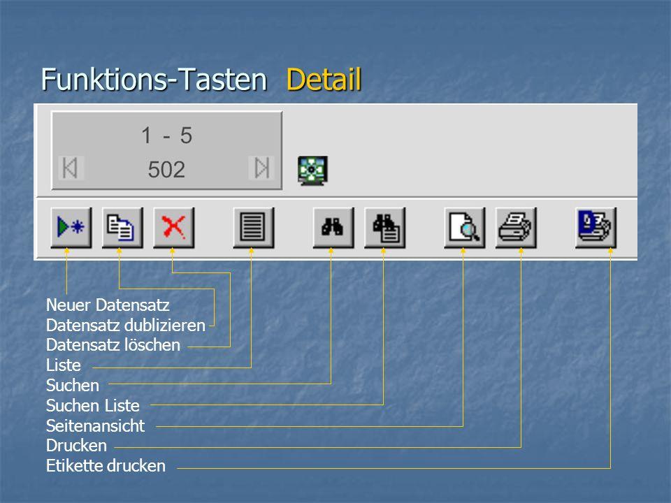 Funktions-Tasten Detail Neuer Datensatz Datensatz dublizieren Datensatz löschen Liste Suchen Suchen Liste Seitenansicht Drucken Etikette drucken