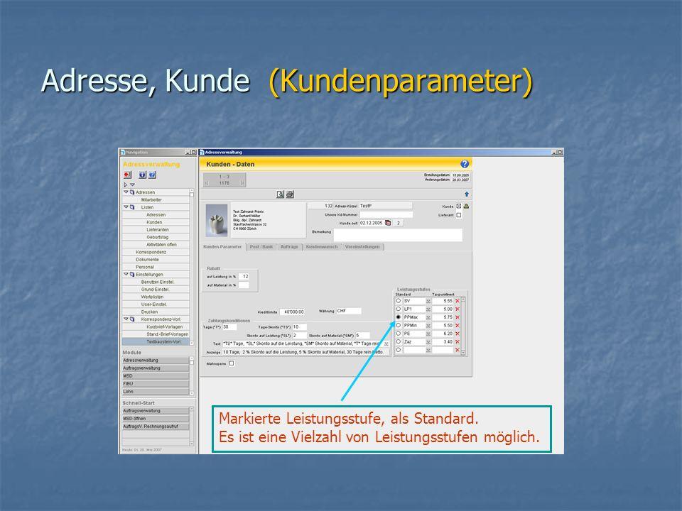 Adresse, Kunde (Kundenparameter) Markierte Leistungsstufe, als Standard.
