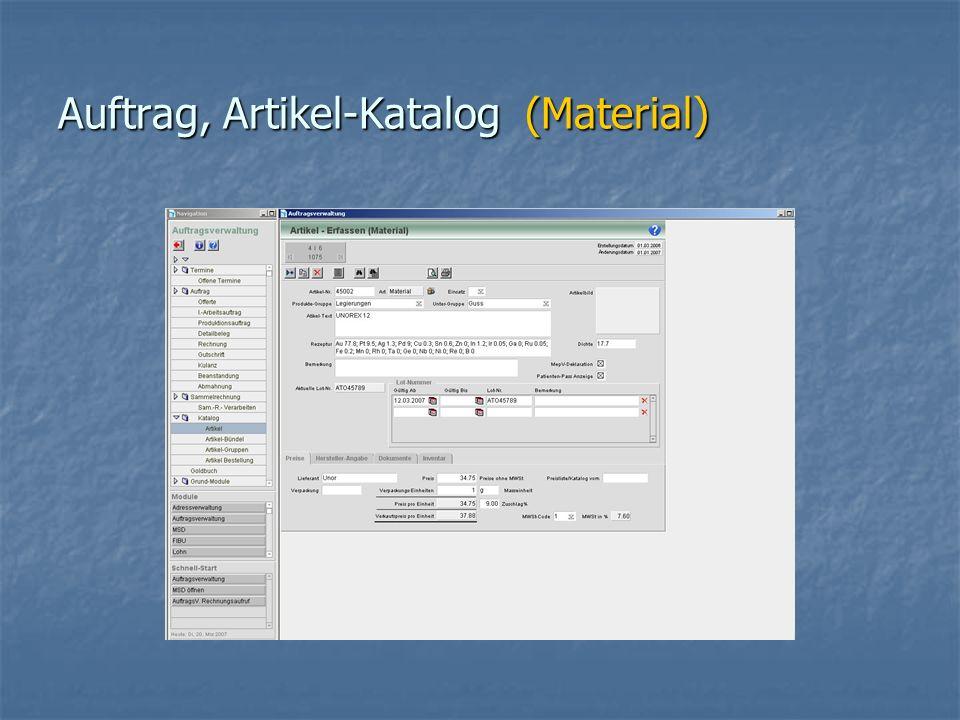 Auftrag, Artikel-Katalog (Material)