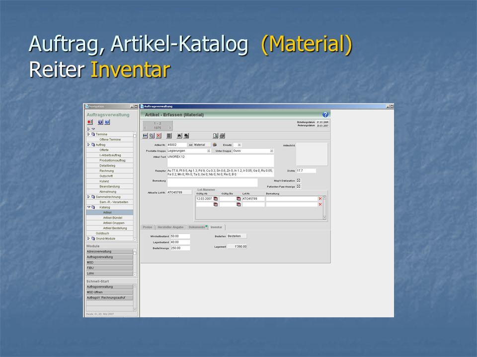 Auftrag, Artikel-Katalog (Material) Reiter Inventar