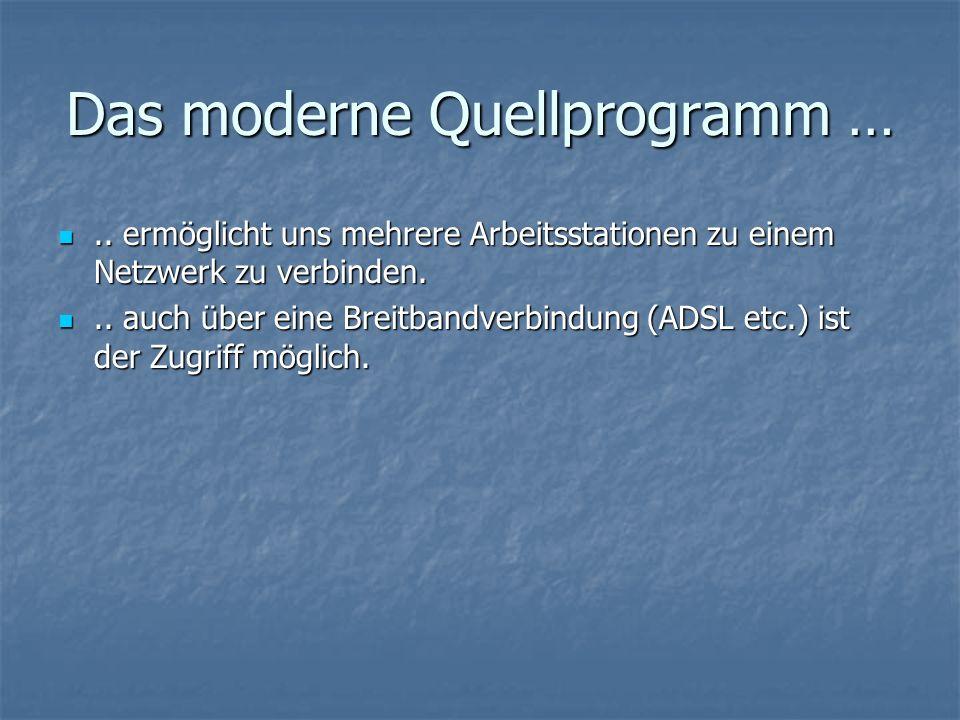 Das moderne Quellprogramm …..