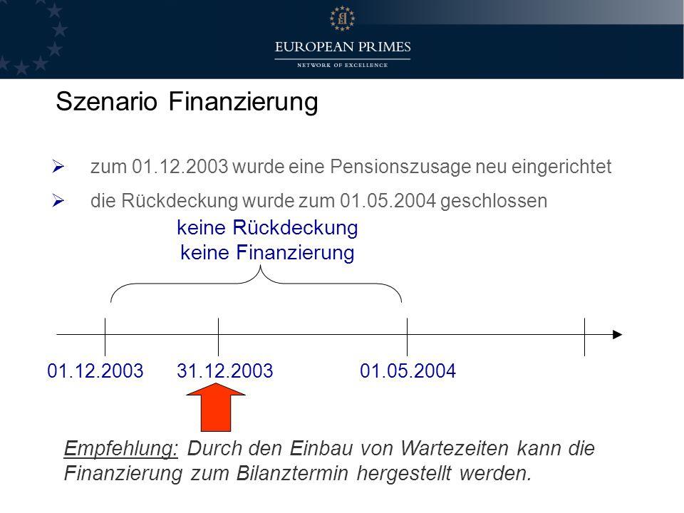 zum 01.12.2003 wurde eine Pensionszusage neu eingerichtet die Rückdeckung wurde zum 01.05.2004 geschlossen Empfehlung: Durch den Einbau von Wartezeite