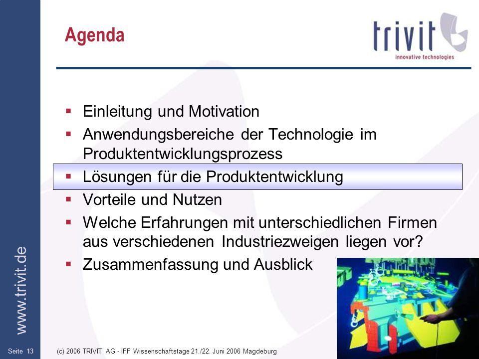www.trivit.de (c) 2006 TRIVIT AG - IFF Wissenschaftstage 21./22. Juni 2006 MagdeburgSeite 13 Agenda Einleitung und Motivation Anwendungsbereiche der T