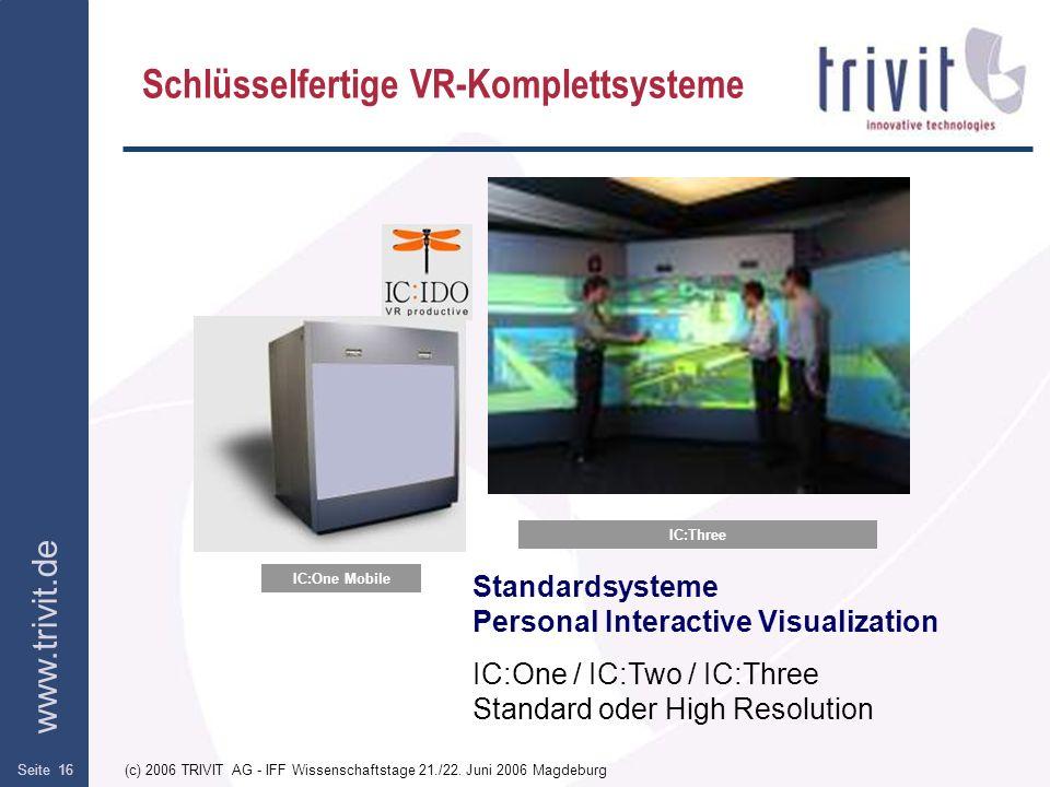www.trivit.de (c) 2006 TRIVIT AG - IFF Wissenschaftstage 21./22. Juni 2006 MagdeburgSeite 16 Schlüsselfertige VR-Komplettsysteme IC:Three Standardsyst