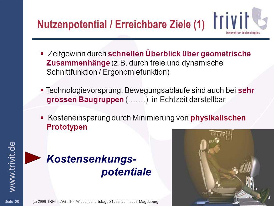 www.trivit.de (c) 2006 TRIVIT AG - IFF Wissenschaftstage 21./22. Juni 2006 MagdeburgSeite 20 Nutzenpotential / Erreichbare Ziele (1) Kostensenkungs- p