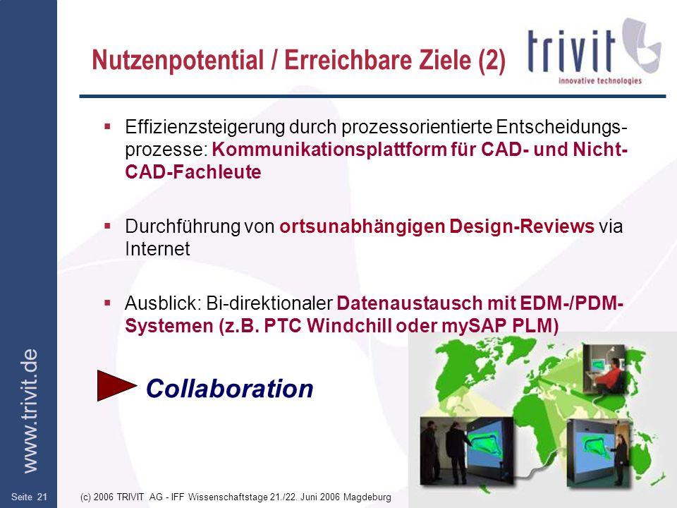 www.trivit.de (c) 2006 TRIVIT AG - IFF Wissenschaftstage 21./22. Juni 2006 MagdeburgSeite 21 Nutzenpotential / Erreichbare Ziele (2) Effizienzsteigeru
