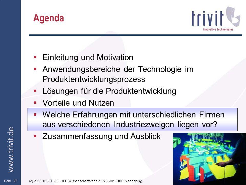 www.trivit.de (c) 2006 TRIVIT AG - IFF Wissenschaftstage 21./22. Juni 2006 MagdeburgSeite 22 Agenda Einleitung und Motivation Anwendungsbereiche der T