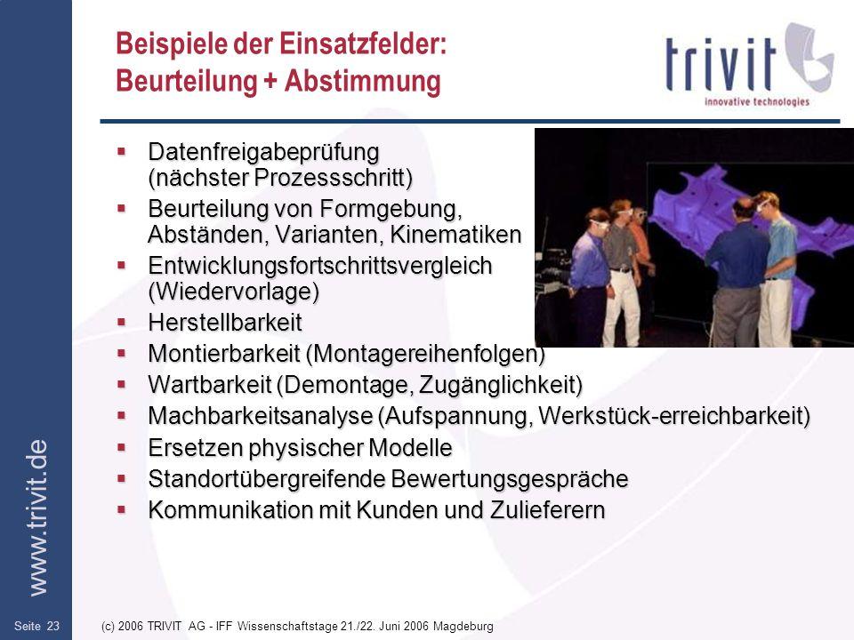 www.trivit.de (c) 2006 TRIVIT AG - IFF Wissenschaftstage 21./22. Juni 2006 MagdeburgSeite 23 Beispiele der Einsatzfelder: Beurteilung + Abstimmung Dat