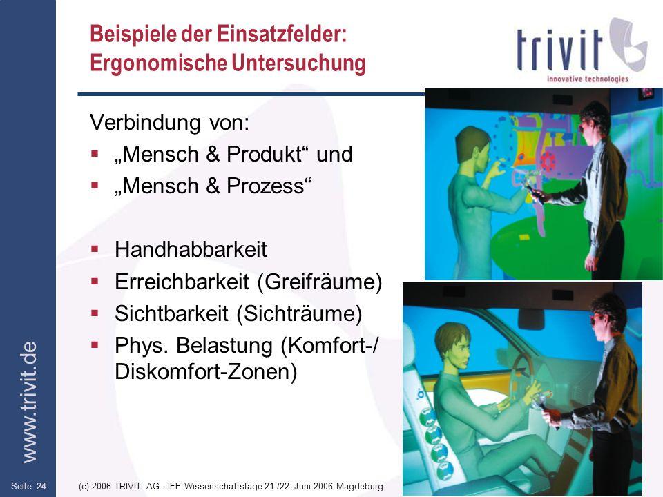 www.trivit.de (c) 2006 TRIVIT AG - IFF Wissenschaftstage 21./22. Juni 2006 MagdeburgSeite 24 Beispiele der Einsatzfelder: Ergonomische Untersuchung Ve