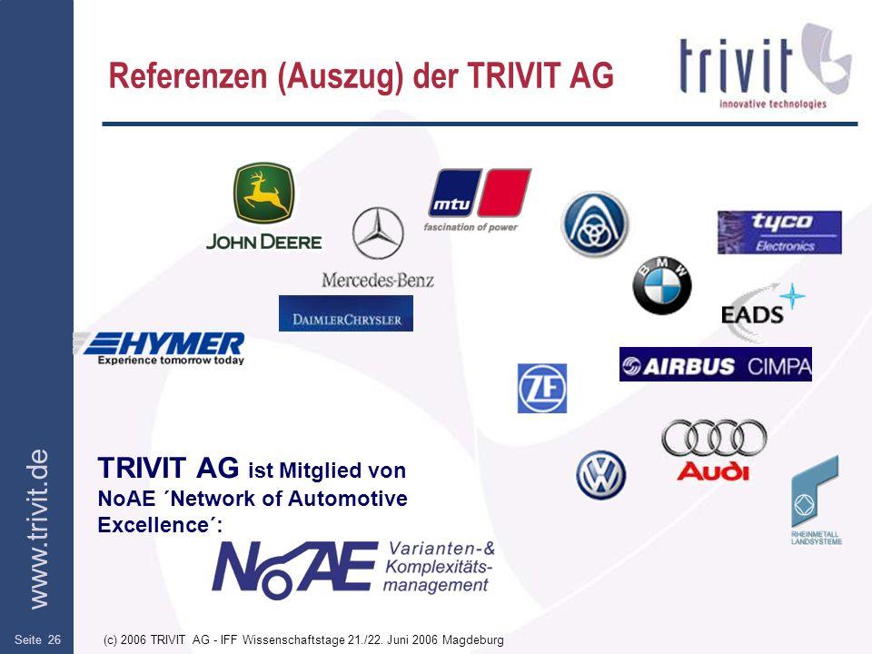 www.trivit.de (c) 2006 TRIVIT AG - IFF Wissenschaftstage 21./22. Juni 2006 MagdeburgSeite 26 Referenzen (Auszug) der TRIVIT AG TRIVIT AG ist Mitglied