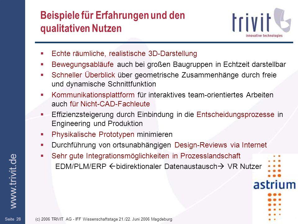 www.trivit.de (c) 2006 TRIVIT AG - IFF Wissenschaftstage 21./22. Juni 2006 MagdeburgSeite 28 Beispiele für Erfahrungen und den qualitativen Nutzen Ech