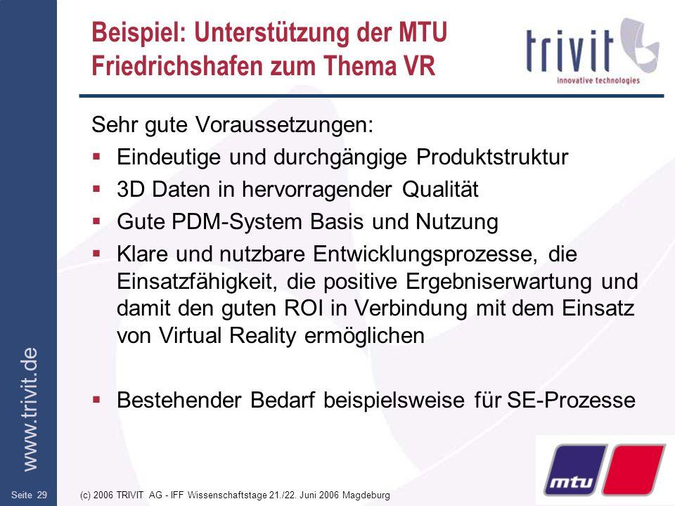 www.trivit.de (c) 2006 TRIVIT AG - IFF Wissenschaftstage 21./22. Juni 2006 MagdeburgSeite 29 Beispiel: Unterstützung der MTU Friedrichshafen zum Thema