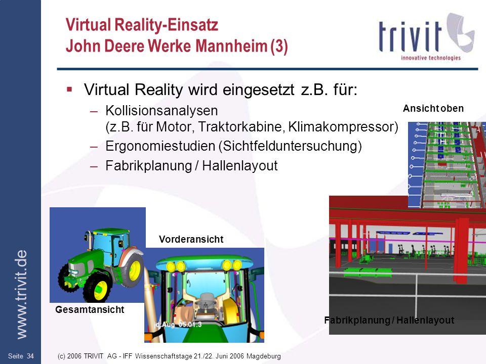 www.trivit.de (c) 2006 TRIVIT AG - IFF Wissenschaftstage 21./22. Juni 2006 MagdeburgSeite 34 Virtual Reality-Einsatz John Deere Werke Mannheim (3) Vir