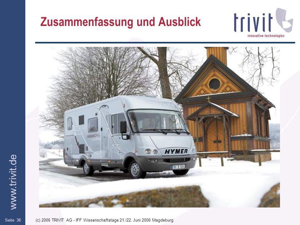 www.trivit.de (c) 2006 TRIVIT AG - IFF Wissenschaftstage 21./22. Juni 2006 MagdeburgSeite 36 Zusammenfassung und Ausblick