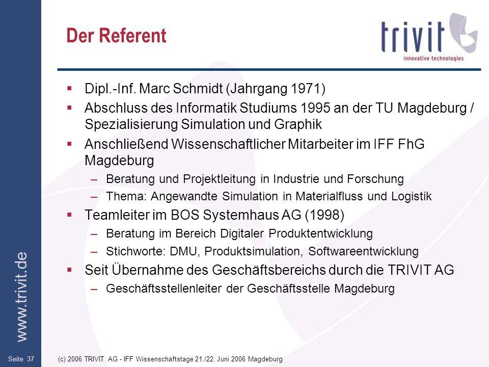 www.trivit.de (c) 2006 TRIVIT AG - IFF Wissenschaftstage 21./22. Juni 2006 MagdeburgSeite 37 Der Referent Dipl.-Inf. Marc Schmidt (Jahrgang 1971) Absc