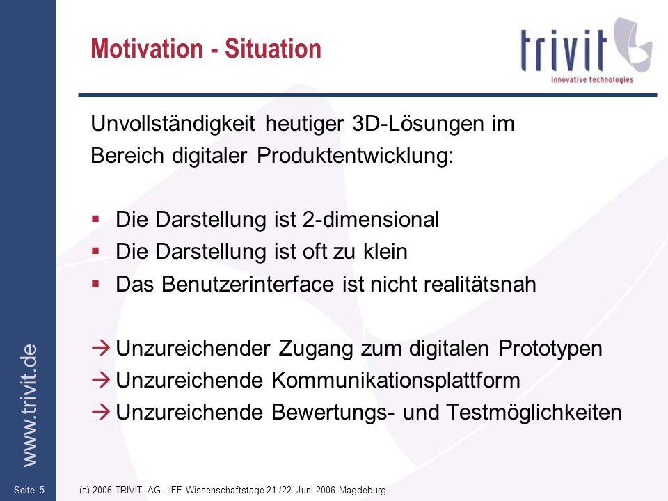 www.trivit.de (c) 2006 TRIVIT AG - IFF Wissenschaftstage 21./22. Juni 2006 MagdeburgSeite 5 Motivation - Situation Unvollständigkeit heutiger 3D-Lösun