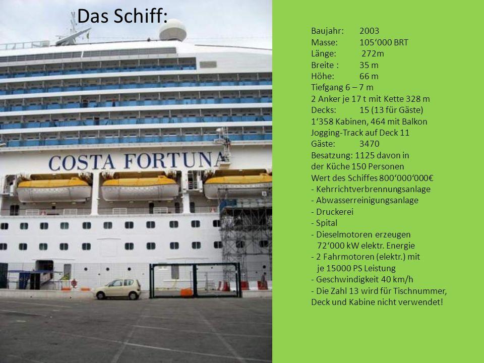 Das Schiff: Baujahr:2003 Masse:105000 BRT Länge: 272m Breite :35 m Höhe:66 m Tiefgang 6 – 7 m 2 Anker je 17 t mit Kette 328 m Decks:15 (13 für Gäste)