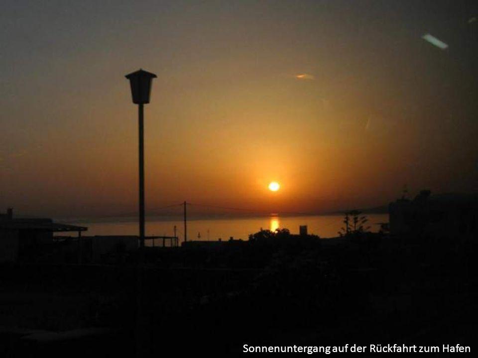 Sonnenuntergang auf der Rückfahrt zum Hafen