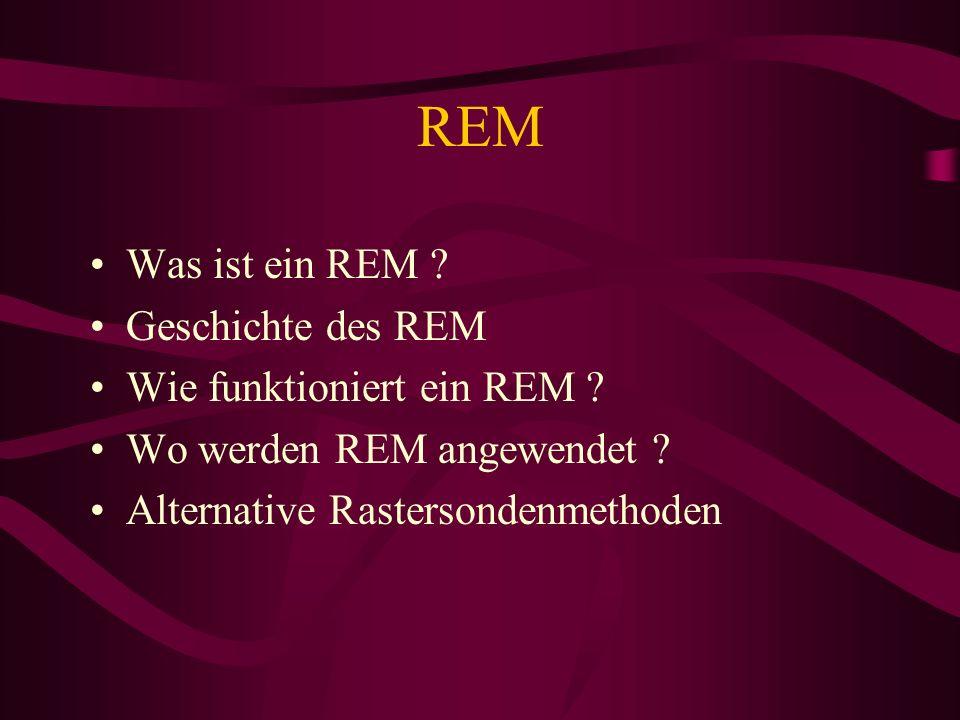 REM Was ist ein REM ? Geschichte des REM Wie funktioniert ein REM ? Wo werden REM angewendet ? Alternative Rastersondenmethoden