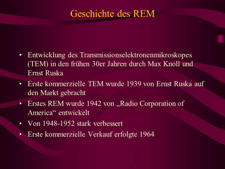 Geschichte des REM Entwicklung des Transmissionselektronenmikroskopes (TEM) in den frühen 30er Jahren durch Max Knoll und Ernst Ruska Erste kommerziel