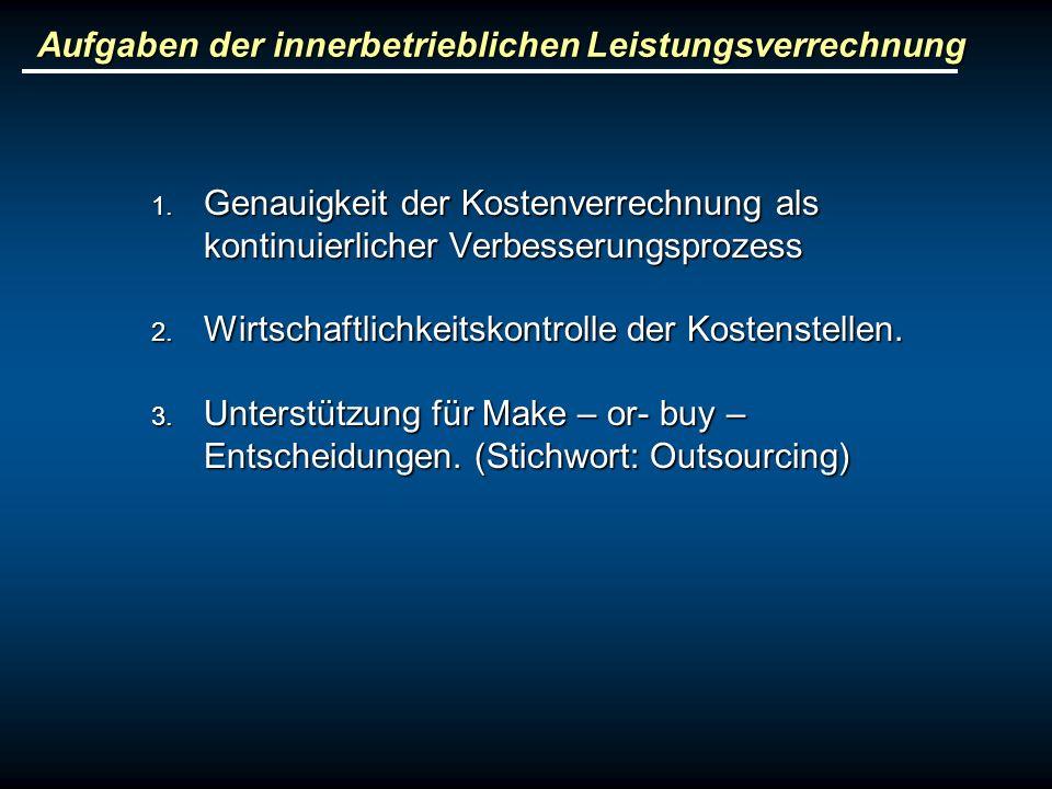 Aufgaben der innerbetrieblichen Leistungsverrechnung 1. Genauigkeit der Kostenverrechnung als kontinuierlicher Verbesserungsprozess 2. Wirtschaftlichk