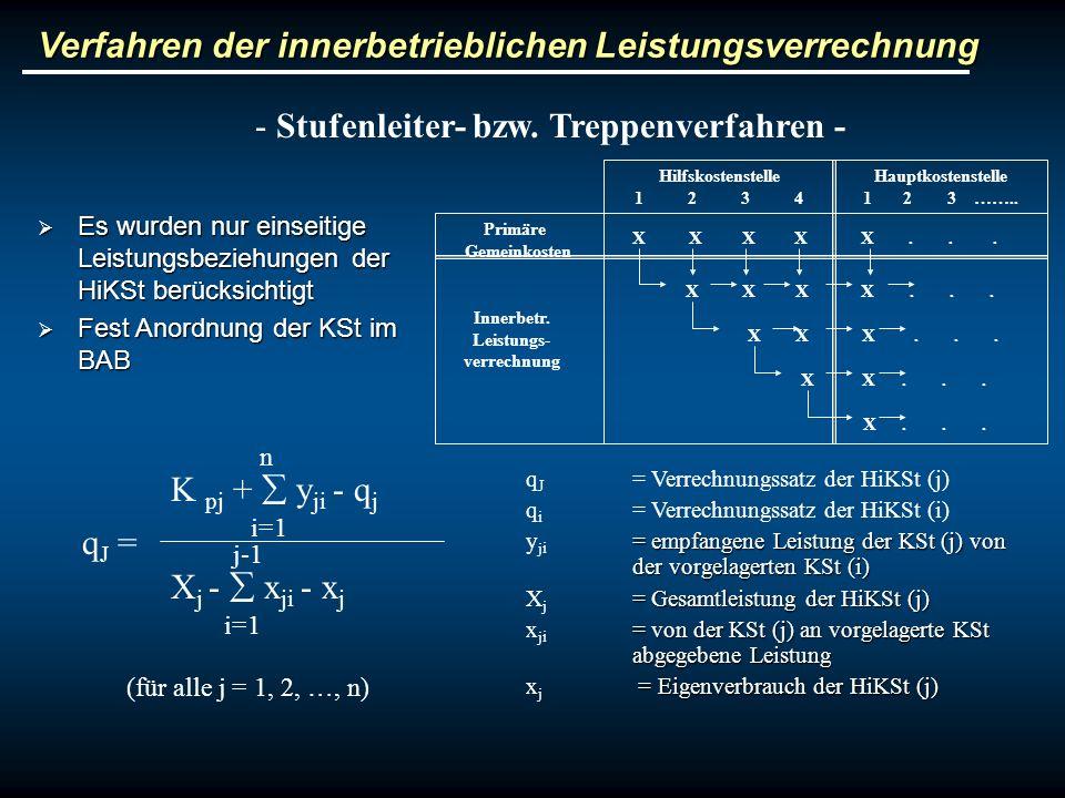 Verfahren der innerbetrieblichen Leistungsverrechnung - Stufenleiter- bzw. Treppenverfahren - Hilfskostenstelle 1 2 3 4 Hauptkostenstelle 1 2 3 …….. P