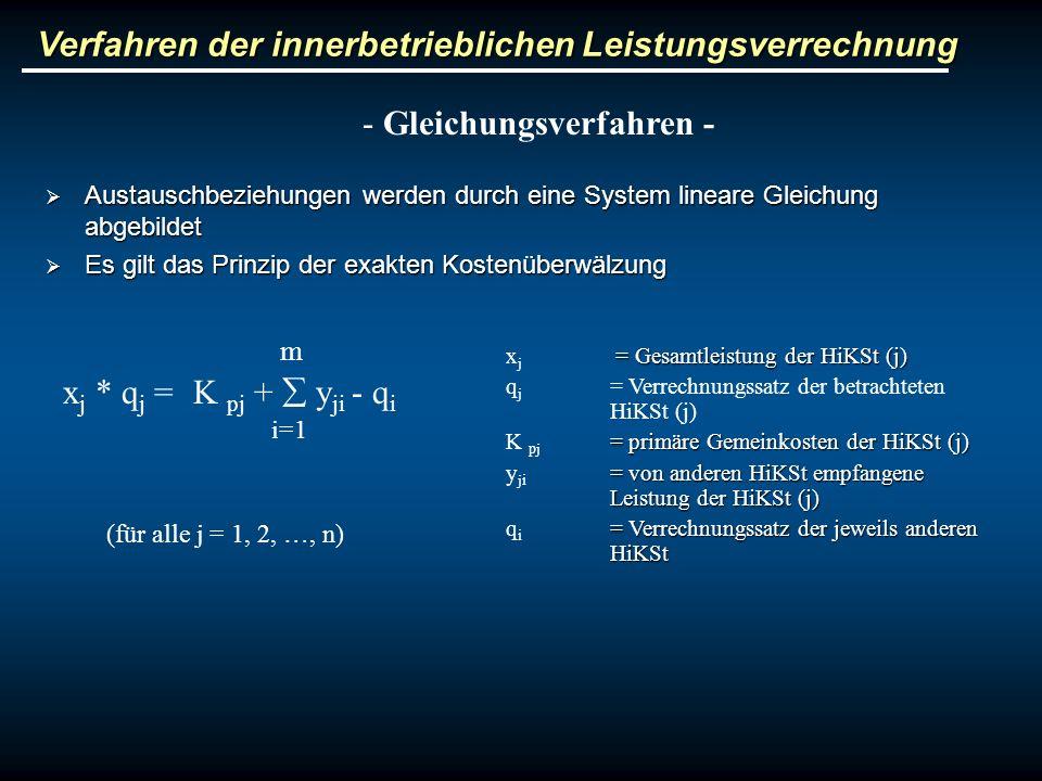 Verfahren der innerbetrieblichen Leistungsverrechnung - Gleichungsverfahren - Austauschbeziehungen werden durch eine System lineare Gleichung abgebild