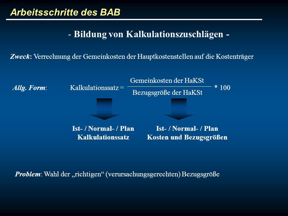 Arbeitsschritte des BAB - Bildung von Kalkulationszuschlägen - Zweck: Verrechnung der Gemeinkosten der Hauptkostenstellen auf die Kostenträger Allg. F