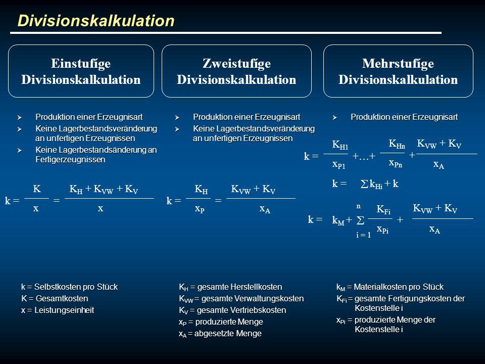 Divisionskalkulation Produktion einer Erzeugnisart Produktion einer Erzeugnisart Keine Lagerbestandsveränderung an unfertigen Erzeugnissen Keine Lager