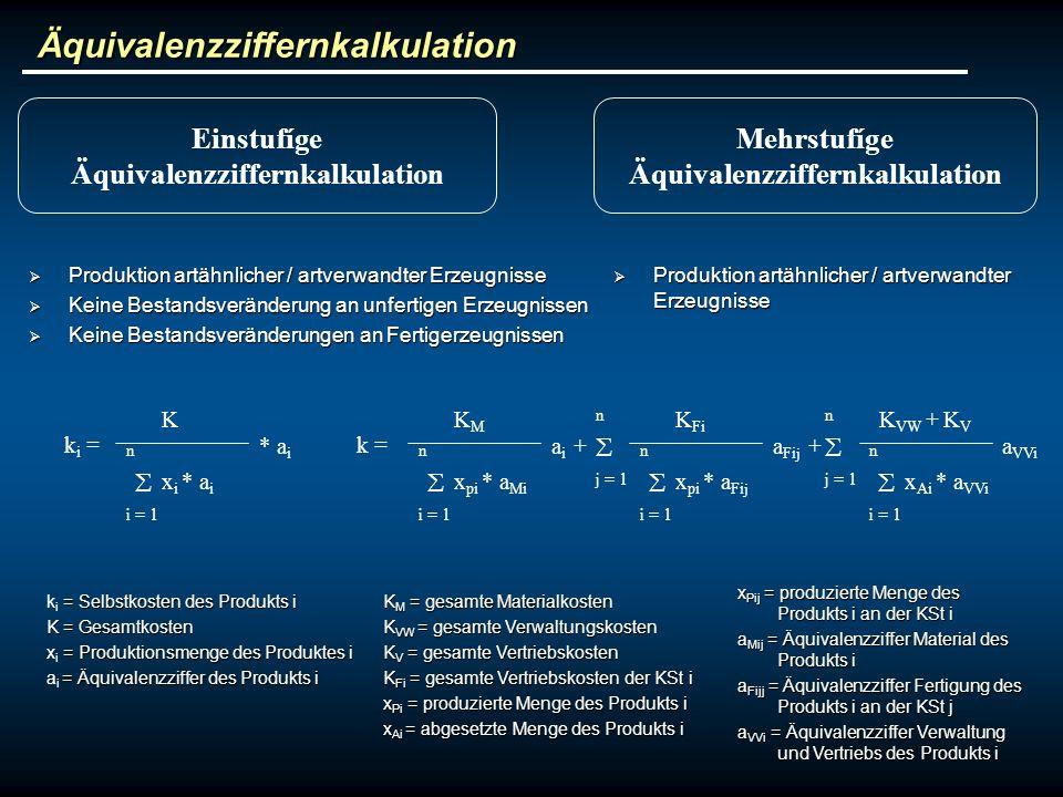 Äquivalenzziffernkalkulation Einstufíge Äquivalenzziffernkalkulation Mehrstufíge Äquivalenzziffernkalkulation Produktion artähnlicher / artverwandter