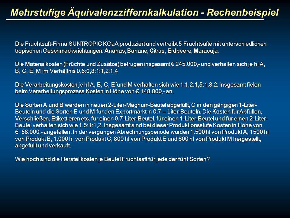 Mehrstufige Äquivalenzziffernkalkulation - Rechenbeispiel Die Fruchtsaft-Firma SUNTROPIC KGaA produziert und vertreibt 5 Fruchtsäfte mit unterschiedli