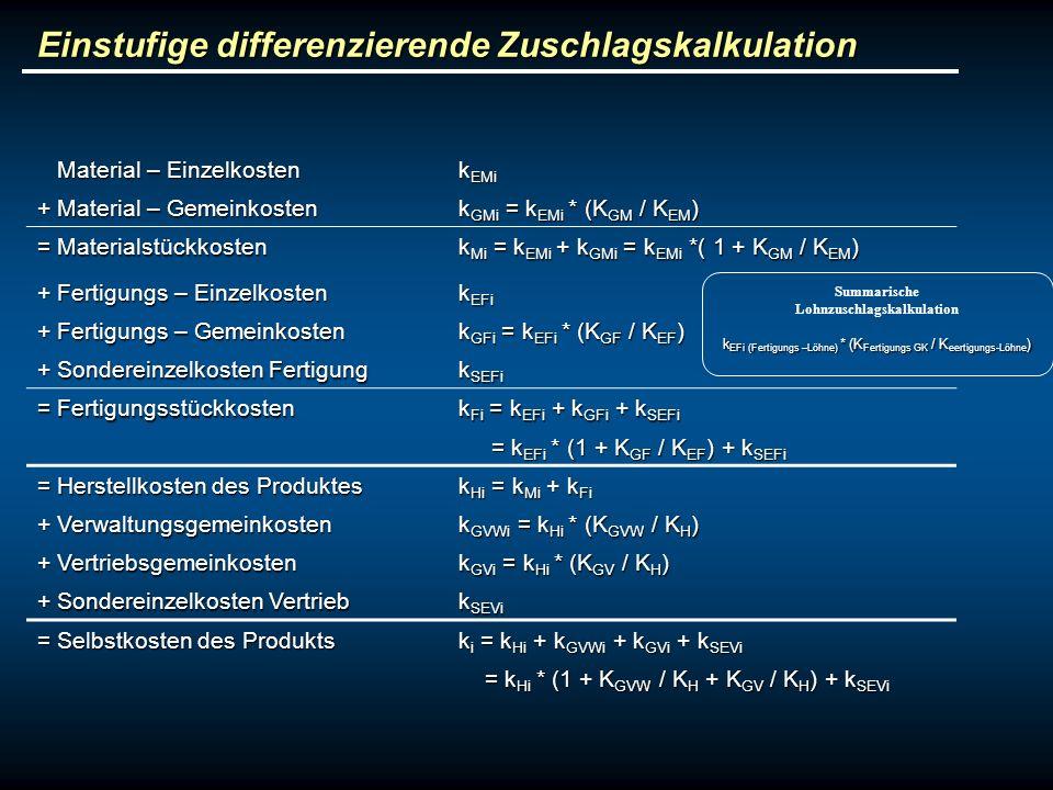 Einstufige differenzierende Zuschlagskalkulation Material – Einzelkosten Material – Einzelkosten k EMi + Material – Gemeinkosten k GMi = k EMi * (K GM