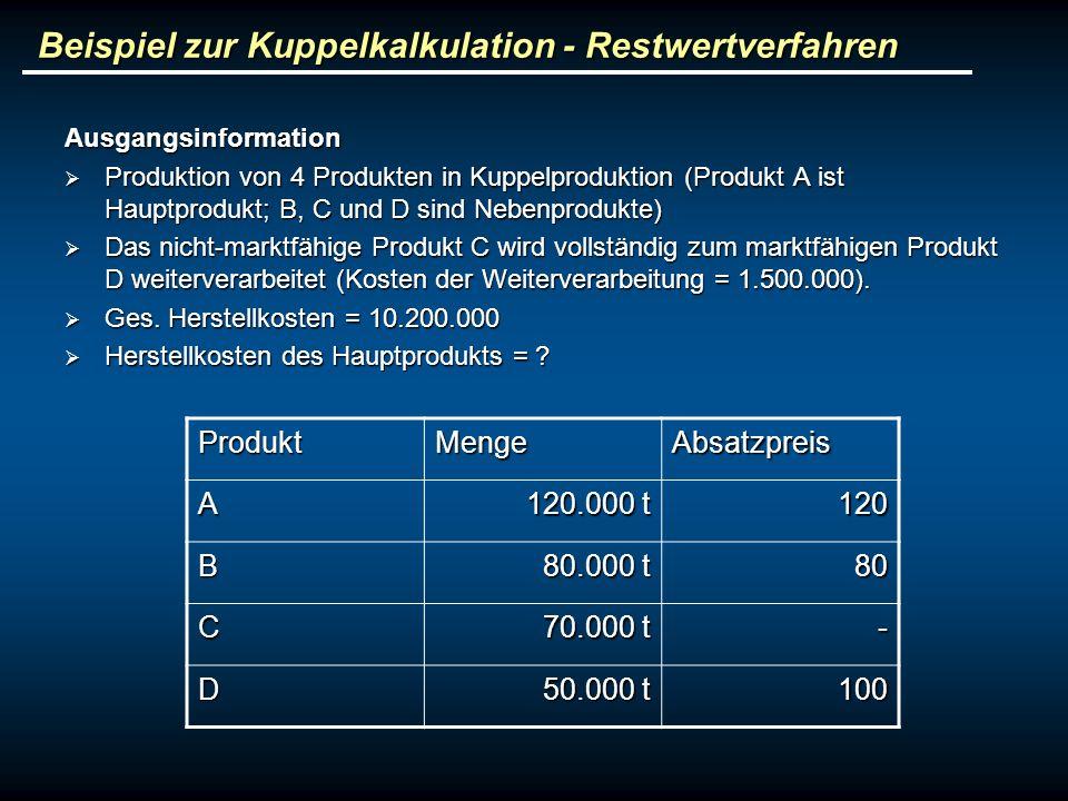 Beispiel zur Kuppelkalkulation - Restwertverfahren Ausgangsinformation Produktion von 4 Produkten in Kuppelproduktion (Produkt A ist Hauptprodukt; B,