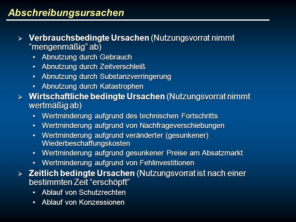 Abschreibungsursachen Verbrauchsbedingte Ursachen (Nutzungsvorrat nimmt mengenmäßig ab) Verbrauchsbedingte Ursachen (Nutzungsvorrat nimmt mengenmäßig