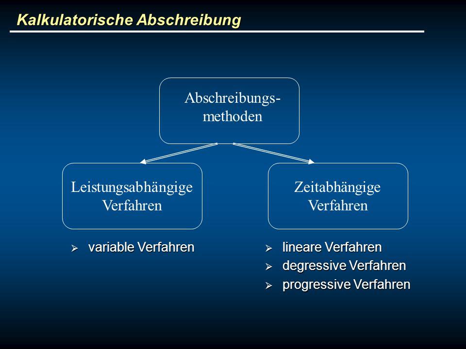 Kalkulatorische Abschreibung Abschreibungs- methoden Leistungsabhängige Verfahren Zeitabhängige Verfahren variable Verfahren variable Verfahren linear