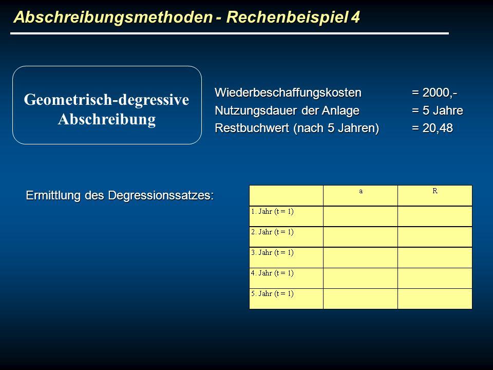 Abschreibungsmethoden - Rechenbeispiel 4 Wiederbeschaffungskosten= 2000,- Nutzungsdauer der Anlage= 5 Jahre Restbuchwert (nach 5 Jahren)= 20,48 Geomet