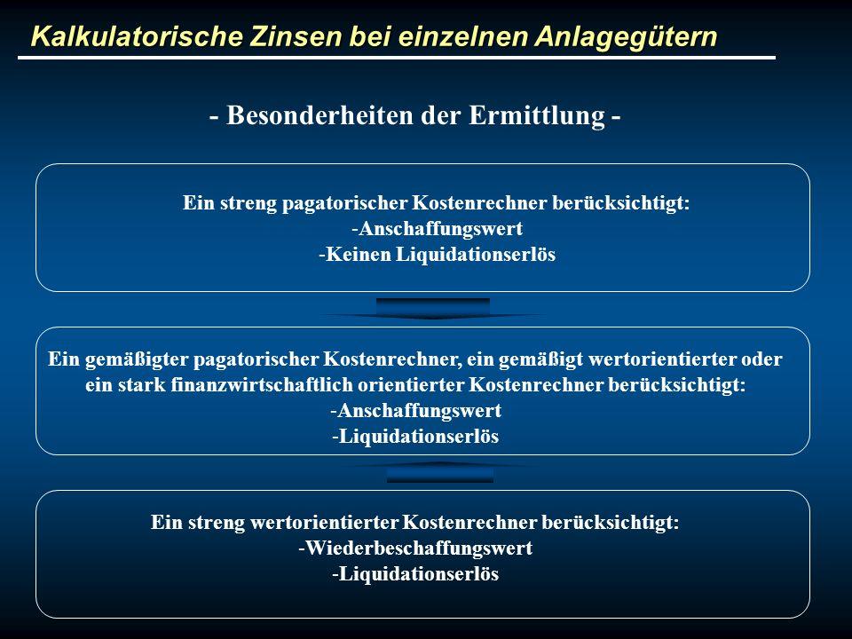 Kalkulatorische Zinsen bei einzelnen Anlagegütern - Besonderheiten der Ermittlung - Ein streng wertorientierter Kostenrechner berücksichtigt: -Wiederb