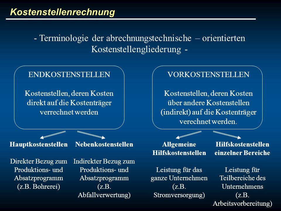 Kostenstellenrechnung - Terminologie der abrechnungstechnische – orientierten Kostenstellengliederung - ENDKOSTENSTELLEN Kostenstellen, deren Kosten d