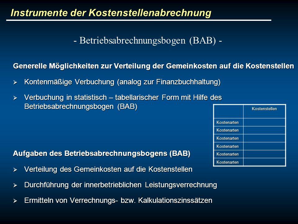 Instrumente der Kostenstellenabrechnung Generelle Möglichkeiten zur Verteilung der Gemeinkosten auf die Kostenstellen Kontenmäßige Verbuchung (analog