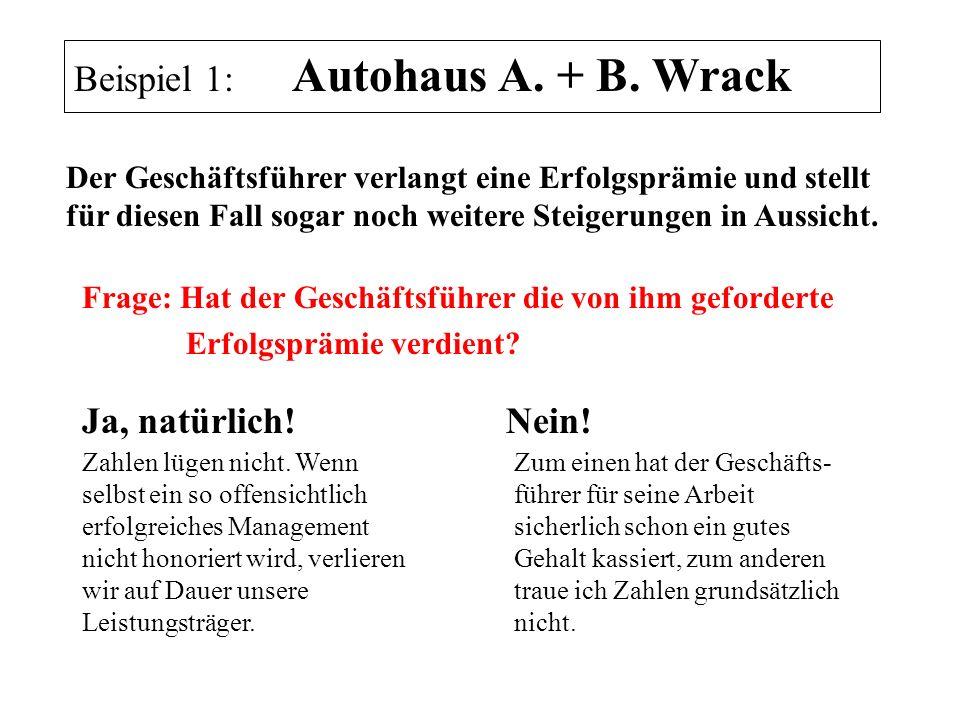 Ja, natürlich! Beispiel 1: Autohaus A. + B. Wrack Nein! Frage: Hat der Geschäftsführer die von ihm geforderte Erfolgsprämie verdient? Der Geschäftsfüh