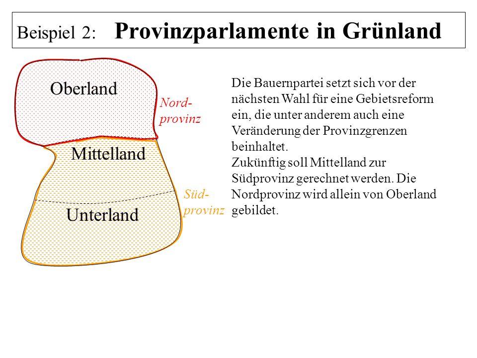 Oberland Mittelland Unterland Nord- provinz Süd- provinz Die Bauernpartei setzt sich vor der nächsten Wahl für eine Gebietsreform ein, die unter ander