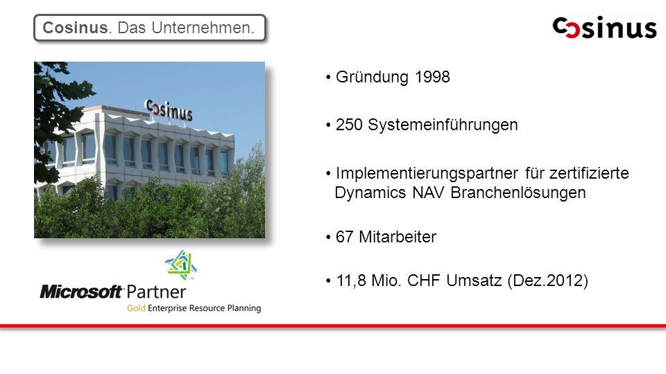 Gründung 1998 250 Systemeinführungen Implementierungspartner für zertifizierte Dynamics NAV Branchenlösungen 67 Mitarbeiter 11,8 Mio. CHF Umsatz (Dez.